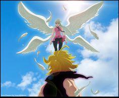 The Demon meets The Angel Elizabeth Seven Deadly Sins, Seven Deadly Sins Anime, 7 Deadly Sins, Meliodas And Elizabeth, Elizabeth Liones, Otaku Anime, Manga Anime, Anime Art, Demon King Anime