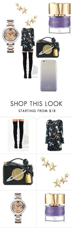 """""""Planet dress"""" by leg2003366 ❤ liked on Polyvore featuring Jeffrey Campbell, Love Moschino, Mark Cross, Kenneth Jay Lane, Cartier, Smith & Cult and Kate Spade"""