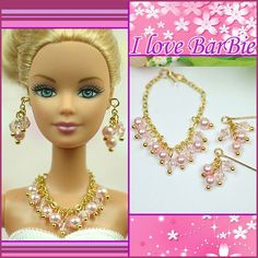 barbie doll jewelry set barbie crystal necklace and earring