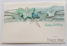 Stampin' Up! Independent Demonstrator UK - Tracy May: Watercolour Backgrounds - using Stampin' Up! Stampin Up Karten, Stampin Up Cards, Cool Cards, Diy Cards, Card Making Inspiration, Making Ideas, Butterfly Cards, Card Sketches, Big Shot
