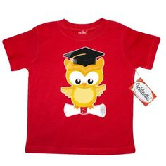 Inktastic Yellow Owl Diploma Toddler T-Shirt Graduate Graduation Cap Ceremony Day School Pre-k Kindergarten Tees. Gift Child Preschooler Kid Clothing Apparel, Size: 4T, Red