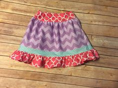 Purple Chevron twirl ruffle girls skirt  by PersonalizedforyouKY