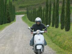 On a #vespa through the green #Tuscany hills