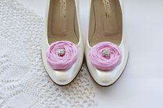 Pink Chiffon Roses Shoe Clips by BizimFlowers on Etsy