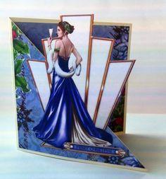 White Art Deco Ladies Birthday Cards Handmade Cocktails Red Gold Elegant
