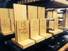 Bespoke Engraved Menu Holders. Contact 08007835887 or visit www.MAJIsign.co.uk!
