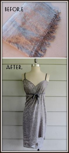 scarf made into a swimsuit cover-up... SO going to make this, especially if I ever end up going swimming this summer.. =)