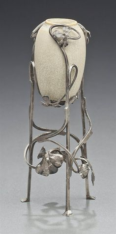 EDGAR BRANDT (1880-1960) & SÈVRES -  AN EXHIBITION VASE, 1904