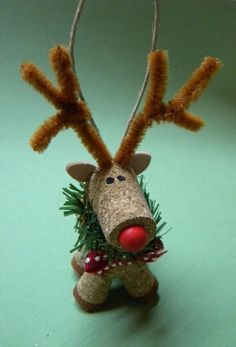"Wine Cork Reindeer Ornament. NEW ~ HANDMADE. measures 4"". | eBay!"