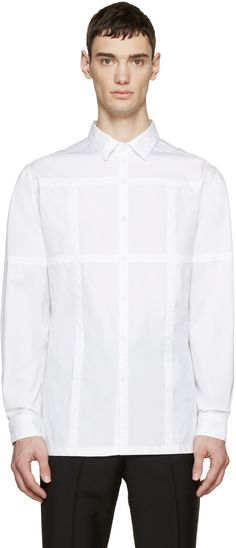 Christopher Kane - White Grid Channel Shirt
