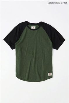 Abercrombie & Fitch Green Colourblock Varsity Tee