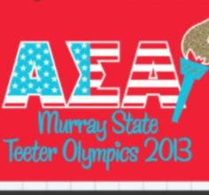 """Sorority Philanthropy Ideas: Alpha Sigma Alpha- Beta Nu, Murray State University hosts """"Teeter For Tots"""" every year to benefit the S. June Smith Center.  The girls stay in the middle of campus for 24 hours and teeter tot, sell lunch and baked items, and play games with other organizations."""