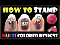HOW TO STAMP MULTI COLORED DESIGNS   KONAD STAMPING NAIL ART TUTORIAL CARTOON EASY - YouTube