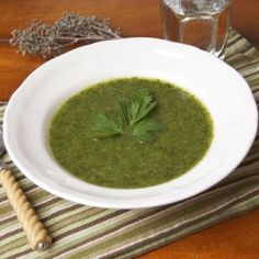 A low-cal green machine soup packed with nutrients and cleansing info.