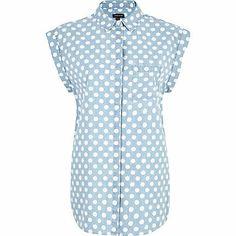Light wash polka dot roll sleeve denim shirt river island