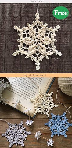 Winter Snowflake Free Crochet Patterns - Home & DIY Crochet Christmas Ornaments, Holiday Crochet, Crochet Snowflakes, Noel Christmas, Crochet Gifts, Free Christmas Crochet Patterns, Xmas, Thread Crochet, Crochet Motif