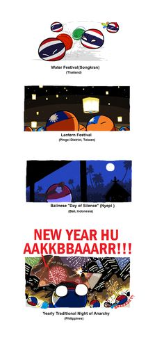 Some Asian New Year Traditions ( Thailand, Taiwan, Indonesia, Philippines ) by taongkalye  #polandball #countryball
