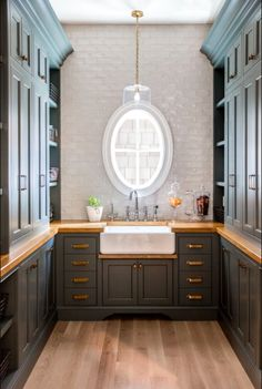 """Walk in Butlers Pantry. Walk in Butlers Pantry painted in """"Farrow and Ball Down Pipe"""". Caitlin Creer Interiors. C. S. Cabinetry & Design"""