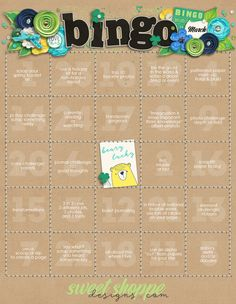 Sweet Shoppe Designs March 2016 Bingo. Challenge yourself to scrap along with the sweetest community in all of digital scrapping, and earn 20, 30 or even 40% off each month at Sweet Shoppe Designs!