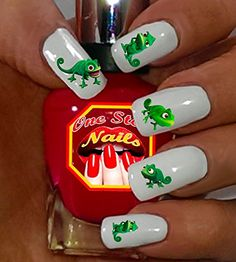 Tattoo, Pascal The Chameleon Nail Decal, Rapunzel, Pascal Nail Decal Set of by One Stop Nails >>> Click image for more details. (This is an affiliate link) Disney Makeup, Disney Nails, Nail Art Stickers, Nail Decals, Packer Nails, Bird Nail Art, Grinch Who Stole Christmas, Chameleon Nails, Disney Rapunzel