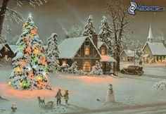 schneebedecktes Dorf, cartoon Dorf, Weihnachtsbaum, Schneemann, Thomas Kinkade