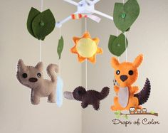"""Baby Crib Mobile - Baby Mobile - Nursery Australian Crib Mobile """"Little Creatures from Australia"""" (You Can Pick Your Colors)"""