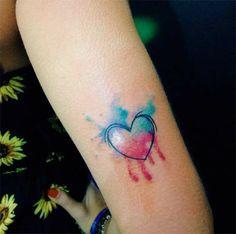 Wasserfarben Tattoo Herz elegant dezent