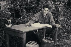 J. D. Salinger writing The Catcher in the Rye while serving in the European theatre of World War II. Taken by Paul Fitzgerald, his comrade in the Counterintelligence Corps, this is the only known photograph of Salinger at work.