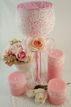 Wedding Wedding Candles Candle Holder Baby Shower por LaivaArt