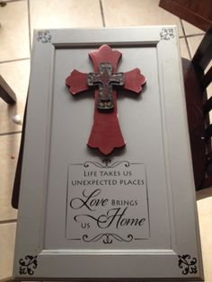 #Cabinet door with #Simply said designs added at the bottom and corners..# Crosses added for a added touch..