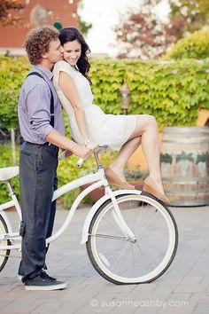Monterey beach cruiser bike engagement photography portraits