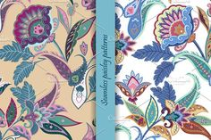 2 Seamless paisley patterns by Natikka Art on @creativemarket