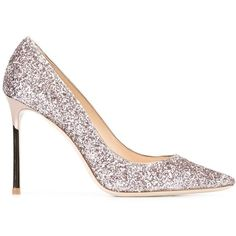 Jimmy Choo Romy 100 pumps (38.780 RUB) ❤ liked on Polyvore featuring shoes, pumps, grey, pointed toe pumps, pointy toe pumps, grey leather pumps, leather sole shoes and metallic pumps