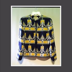 Beautiful silk jacket by Adrianna Papell! Incredible jacket. Well made, with a unique and vibrant print. Stunning, classy and a closet must Adrianna Papell Jackets & Coats