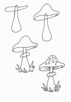 Comment dessiner un champignon | Champignon dessin, Dessin et Dessins faciles