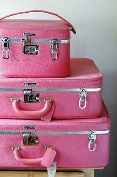 """Parsimonia took me back a few years with this hard case Pepto pink luggage set from long ago."""