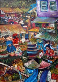 Original painting from 2015 - Pasar Minggu - Jakarta Selatan (Market Scene in South Jakarta) - Acrylic on wooden Wardrobe Door (Upper Panel).Pasar Minggu is a subdistrict of South Jakarta, Jakarta, Indonesia. The area is known for its traditional Sunday market, famous for the fruit market. Historically, Pasar Minggu is a fruit cultivation area developed by the Dutch government during the colonial period. The central point of the cultivation area is the traditional market of Pasar Minggu…