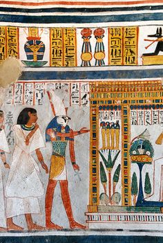 Horus in Roys tomb at Luxor. Horus as psychopomp bringing the dead before Osiris.