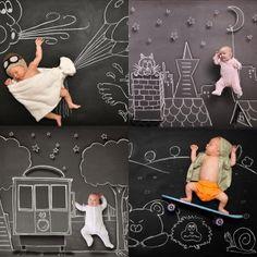 Fotos increíbles de bebés sobre pizarra. De la fotógrafa Anna Eftimie
