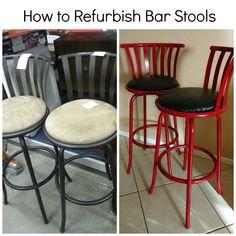 Diy Bar Stool Reupholstery Easy Barstool Makeover