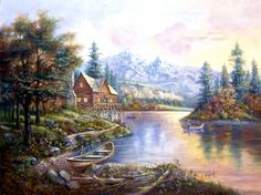 Along the River - houses, reflection, autumn, painting, water, trees, artwork