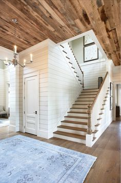 Markalunas Architecture Group - I love shiplap walls! (click through for more paneled wall inspiration) Rustic Staircase, Staircase To Basement, Staircase With Landing, Stairs In Homes, Basement Ceilings, Cottage Staircase, Staircase Storage, Entryway Stairs, Staircase Remodel