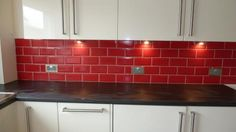 red brick kitchen wall tiles - Google Search