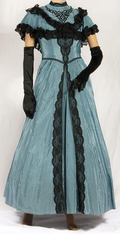 Victorian  Dress Blue/Gray with black trim