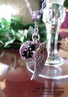 003 Wings To My Heart Medical Id Charm Necklace
