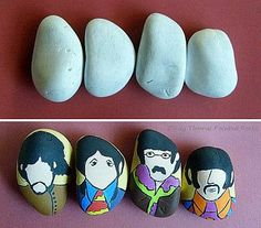 Painting Rock & Stone Animals, Nativity Sets & More: Before & After Painted Rocks & Stones: The Beatles Pebble Painting, Pebble Art, Stone Painting, Diy Painting, Rock Painting, Nativity Painting, Painted Rocks Craft, Hand Painted Rocks, Painted Stones