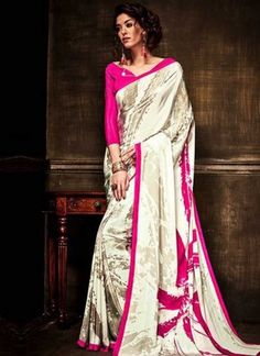 Grey Printed Pure Crepe Silk Designer Fancy Party Wear  Sarees http://www.angelnx.com/Sarees
