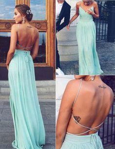 $105.99 Fashion Spaghetti V-neck Long Mint Prom Dress Backless,cheap prom dresses,chiffon prom dresses,backless prom dresses,mint prom dresses