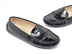 a2a58b39583 Black Patent Leather Penny Loafers Signature Pebble Rubber Soles Flats
