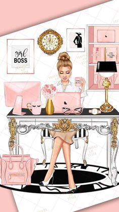 She choosed beige and white colours to relax in work with modern architecture and Apple products in all office and out of IT also Mode Poster, Photo Deco, Illustration Blume, Girly Drawings, Fashion Wallpaper, Pink Wallpaper, Wallpaper Quotes, Wallpaper Backgrounds, Fashion Wall Art